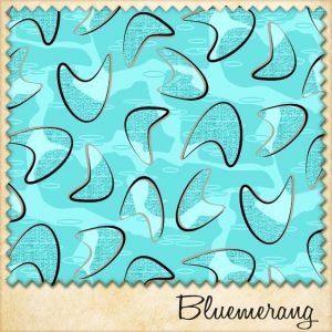 1950s vintage style boomerang fabric bluemerang