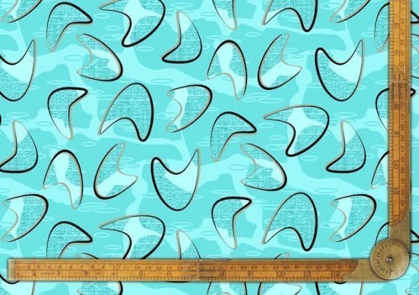 1950s vintage style boomerang fabric bluemerang
