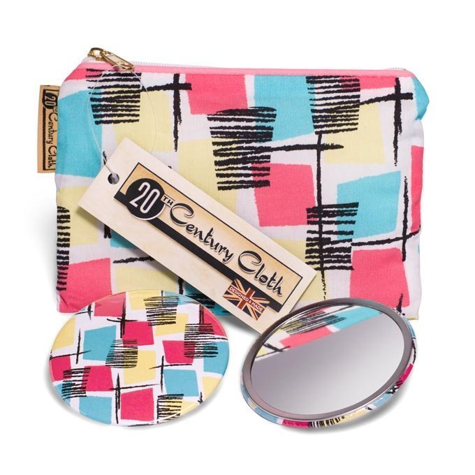 1950s vintage style beauty mirror bag