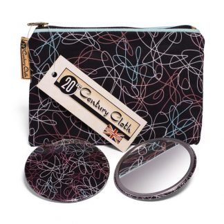1950s vintage style atomic beauty mirror bag