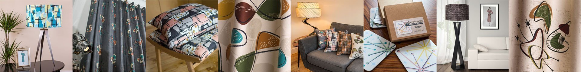 Our range of Mid Century, 1950's inspired style fabrics and homewares.