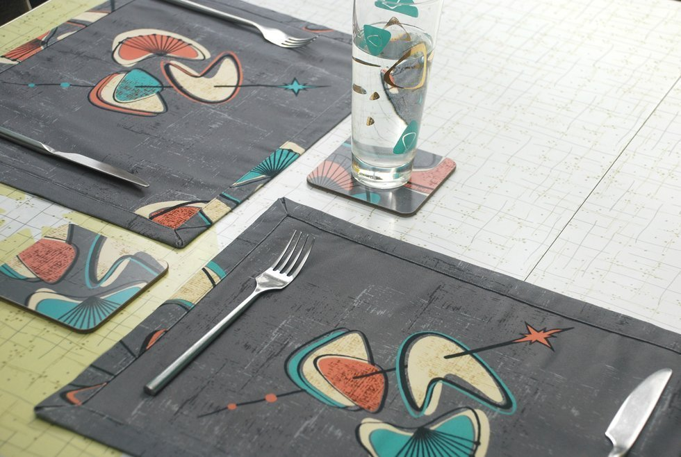midcentury fabric placemats and coasters