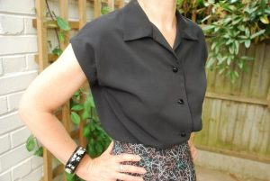 1950s handmade black blouse