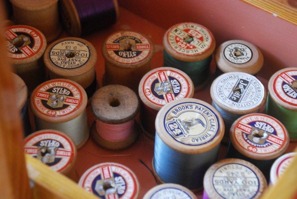 vintage sewing spools