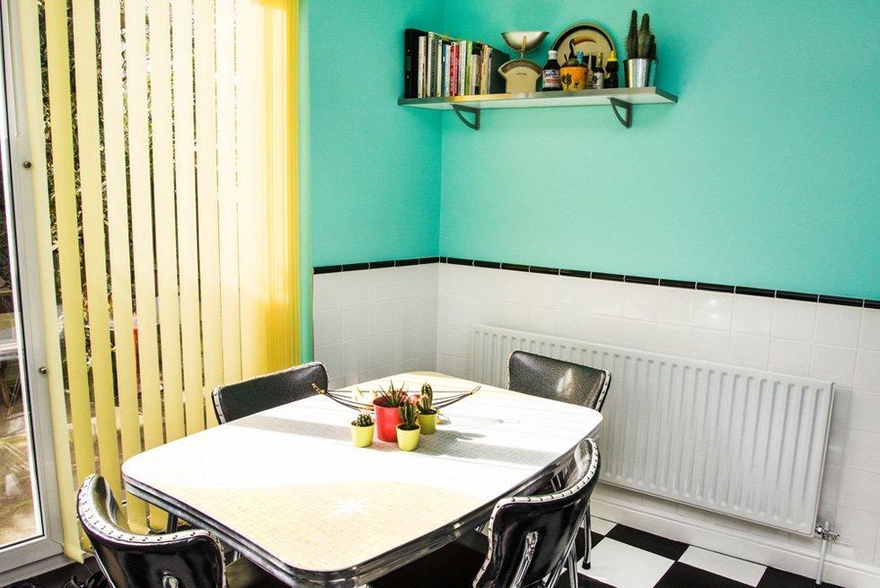 turquoise 50s kitchen