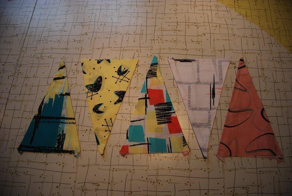 Retro fabric bunting