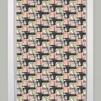 1950s retro mid century contemporary pink roller blind