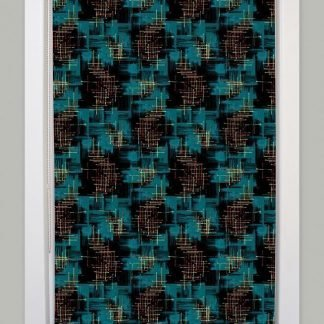1950s retro mid century teal roller blind