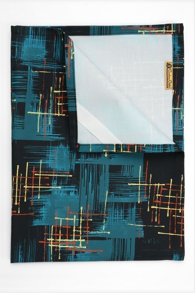1950's retro tea towel teal