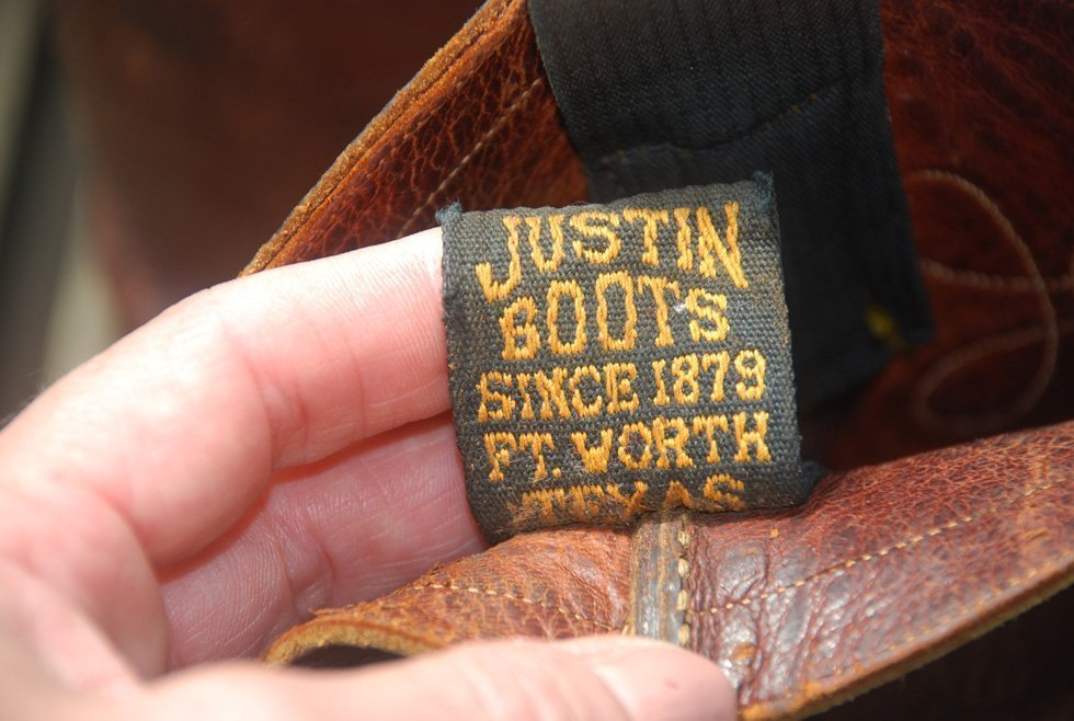 Bootstrap of vintage Justin Boots Fort Worth Texas