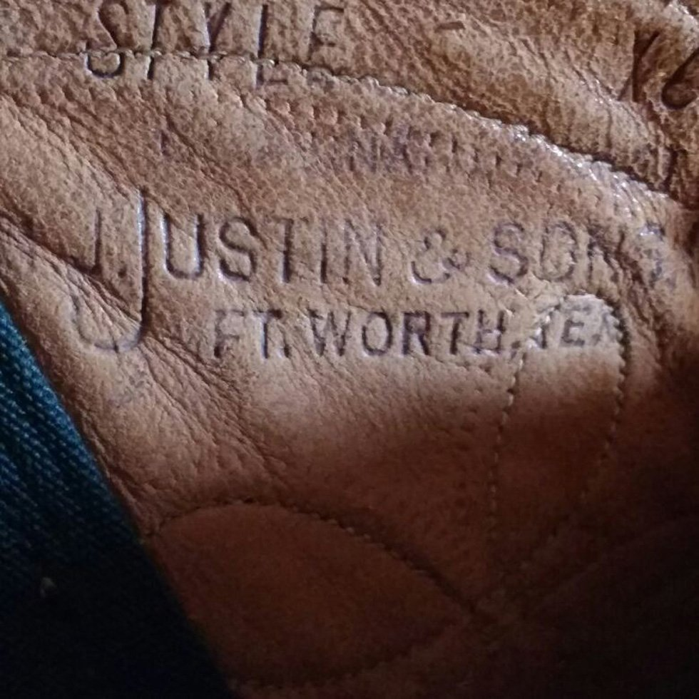 Inside view of Justin cowboy boots