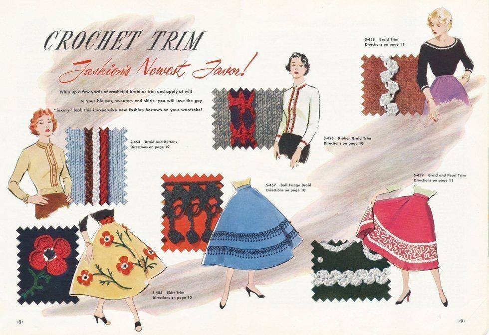 hand made 50s crocheted dress trim