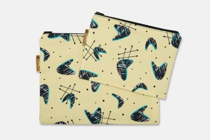 pair of mid century inspired pouches