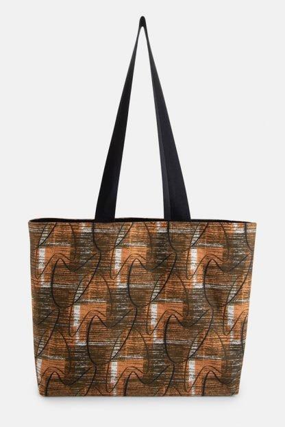 mid century brown boomerang shoulder bag