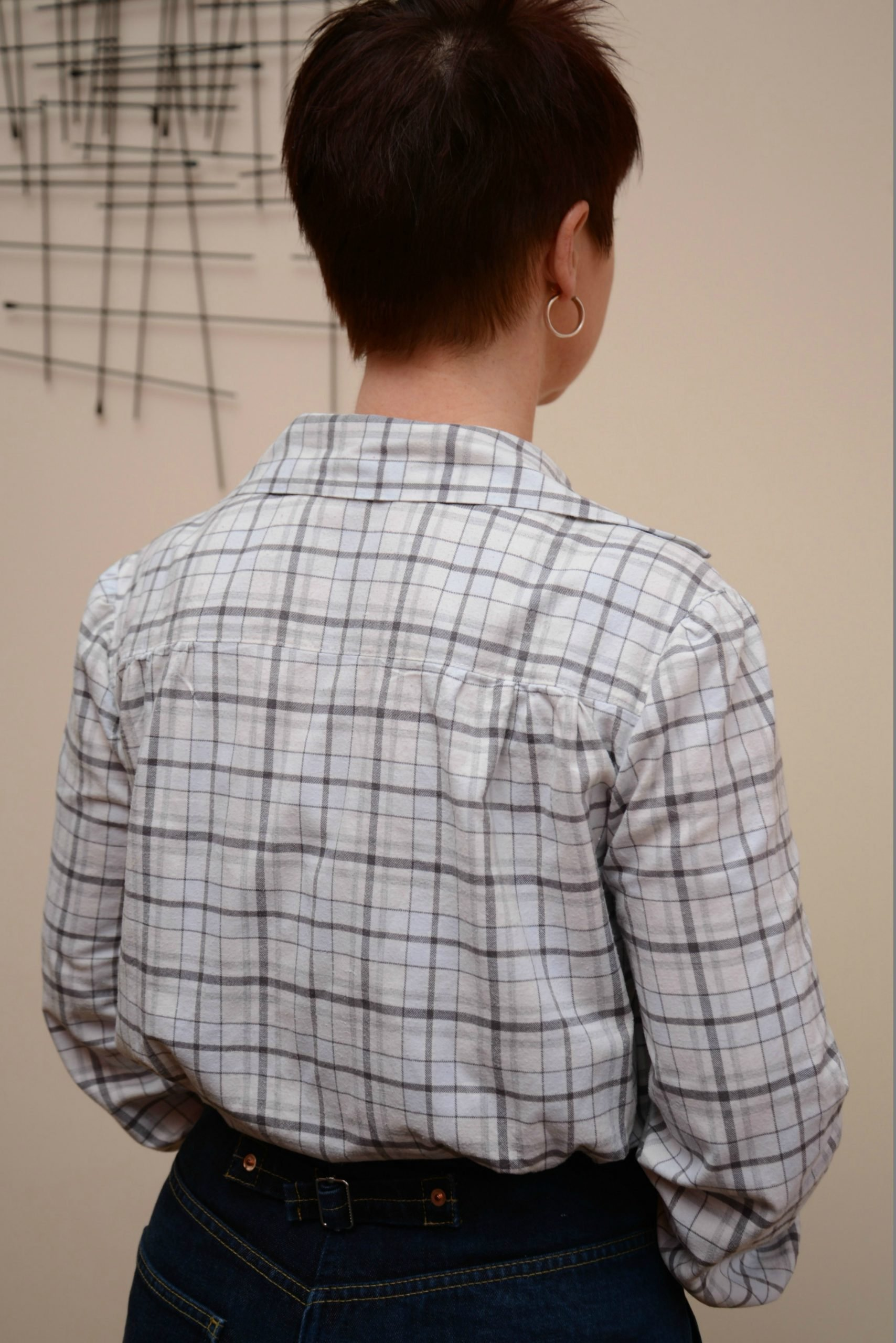 Back view of shirt made from a vintage pattern
