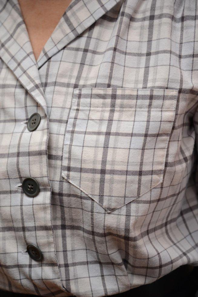 Front pocket on hand sewn shirt