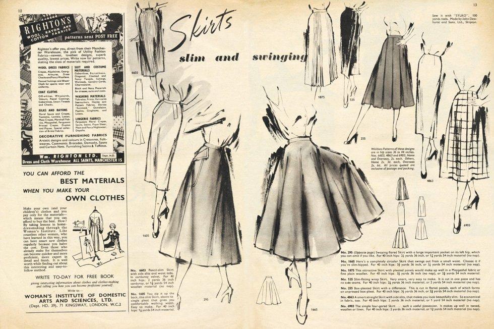 50s slim and swinging skirts