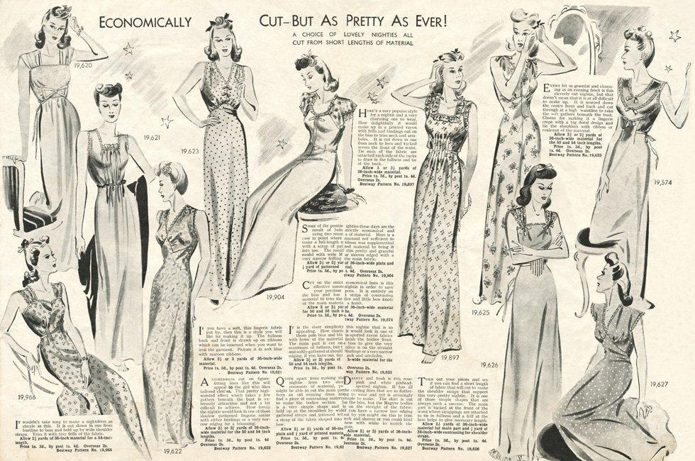 bias cut 1940s nightwear