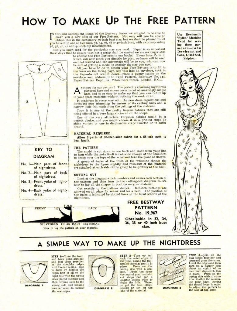 Free pattern instructions