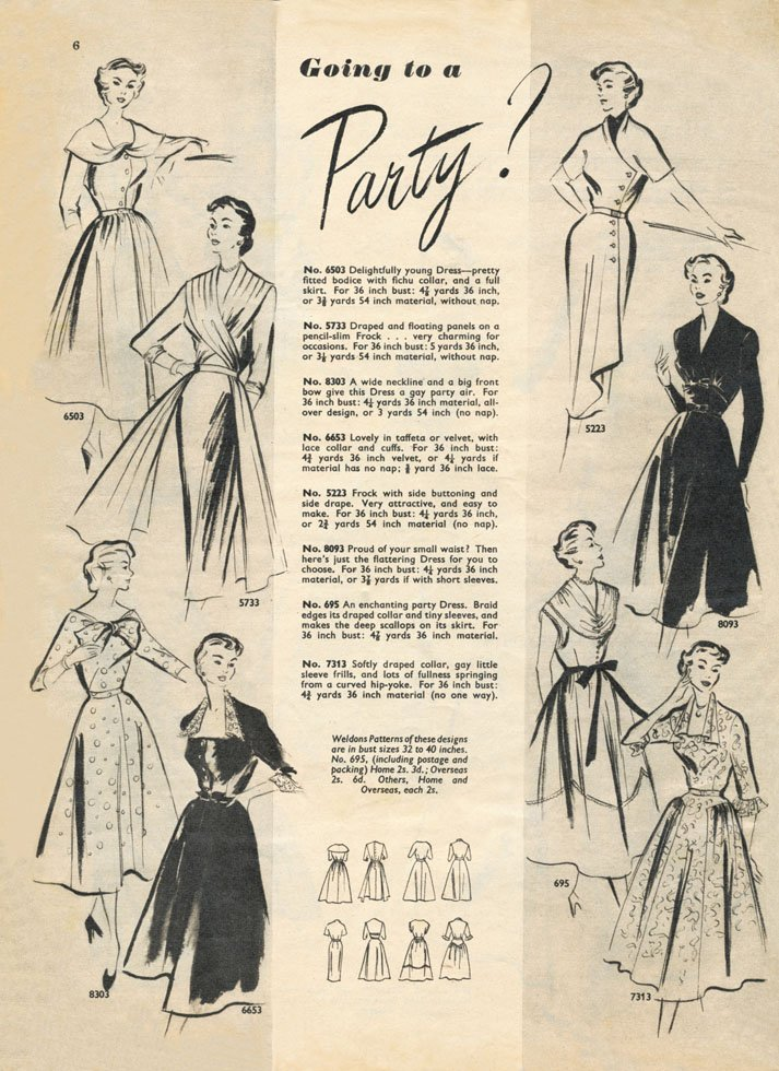 1950s party dress illustrations