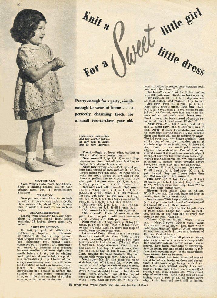free girls dress knitting pattern