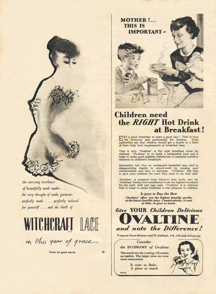 witchcraft lace Ovaltine vintage ad