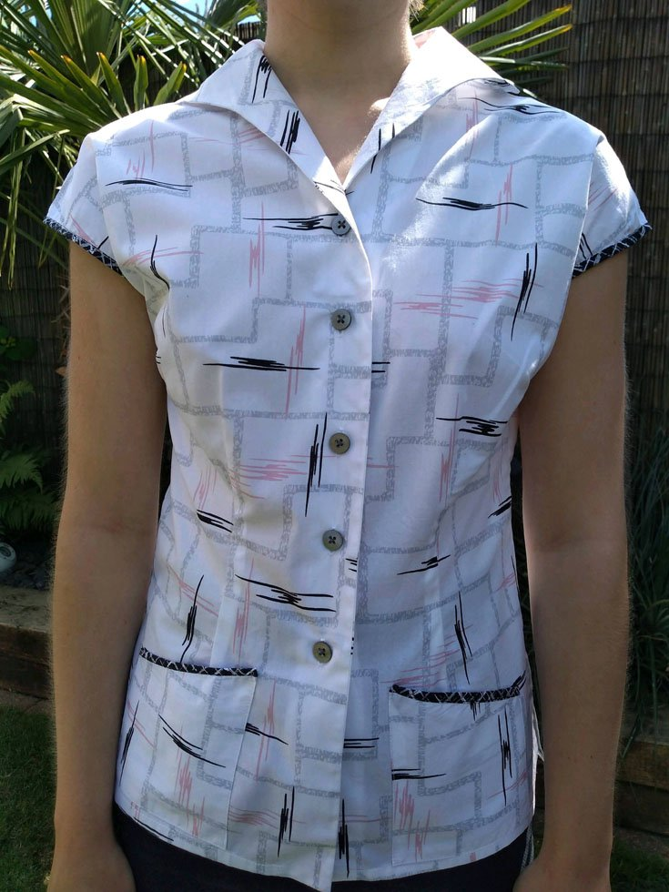 fitted 1960s blouse with pockets