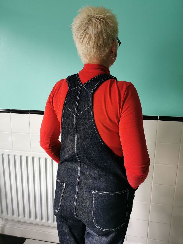 home made dungarees back view